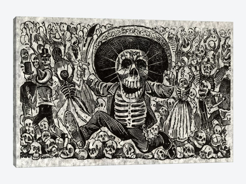 Skeletons - Calavera from Oaxaca by Jose Guadalupe Posada 1-piece Canvas Wall Art