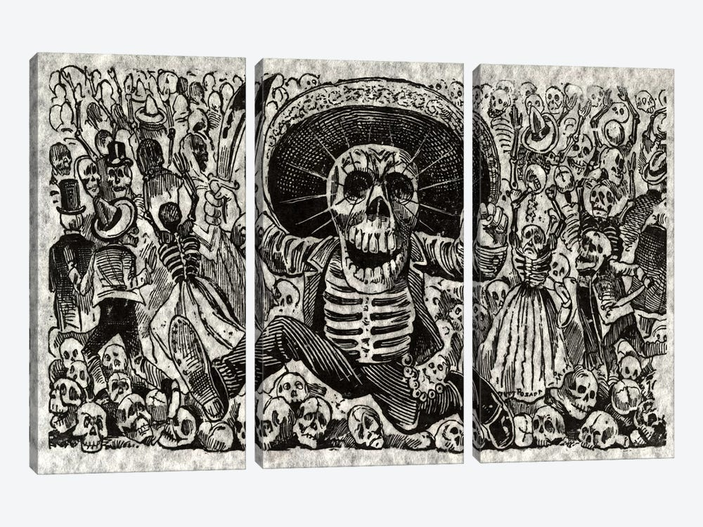 Skeletons - Calavera from Oaxaca by Jose Guadalupe Posada 3-piece Canvas Wall Art
