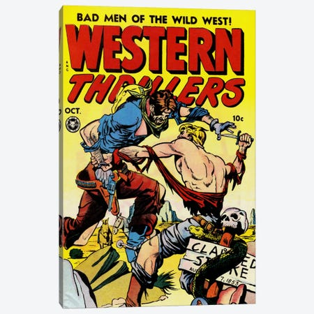 Bad Man of The Wild West (Western Thrillers - Comic Books) - Vintage Poster Canvas Print #8837} by Unknown Artist Canvas Wall Art