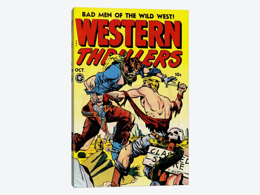 Bad Man of The Wild West (Western Thrillers - Comic Books) - Vintage Poster by Unknown Artist 1-piece Canvas Artwork