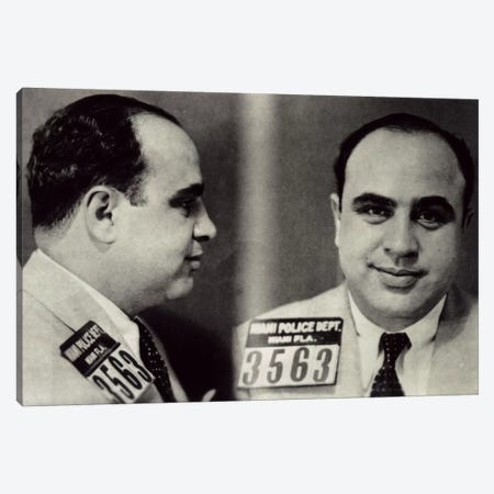 Alphonse Gabriel Al Capone Mugshot - Chicago Gangster Outlaw Canvas Print #8838} by iCanvas Art Print