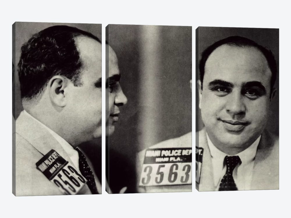 Alphonse Gabriel Al Capone Mugshot - Chicago Gangster Outlaw by iCanvas 3-piece Art Print