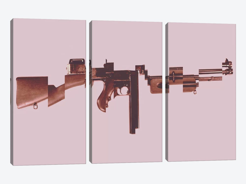 Gangster's Toy (Machine Gun) by Unknown Artist 3-piece Canvas Wall Art