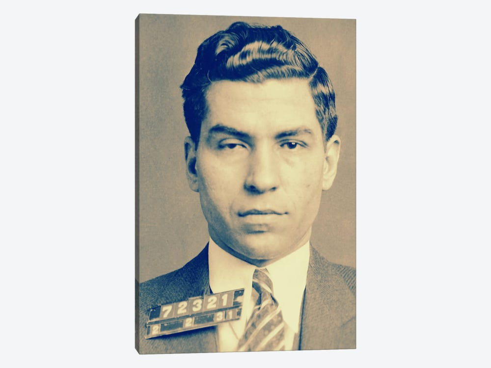 "Charlie ""Lucky"" Luciano - Gangster Mugshot by Unknown Artist 1-piece Canvas Wall Art"