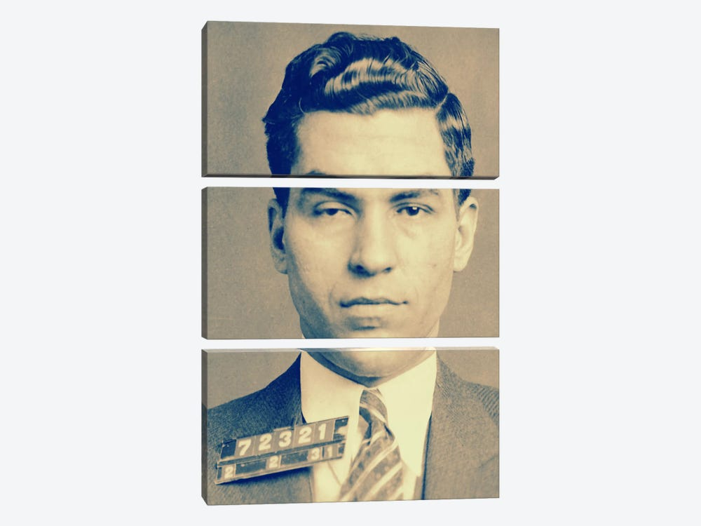 "Charlie ""Lucky"" Luciano - Gangster Mugshot by Unknown Artist 3-piece Canvas Art"