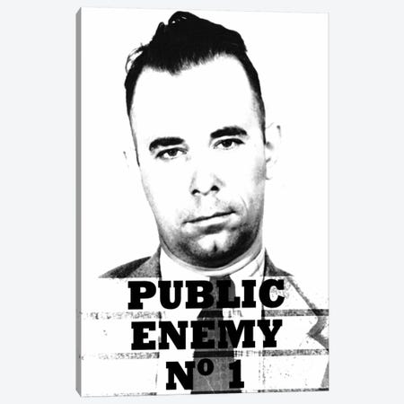 John Dillinger; Public Enemy Number 1 - Gangster Mugshot Canvas Print #8842} by Unknown Artist Canvas Art