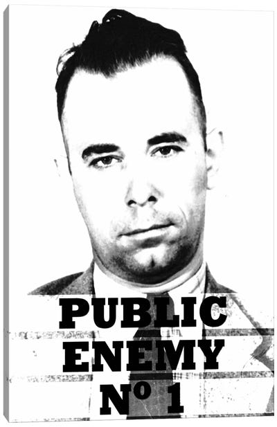 John Dillinger; Public Enemy Number 1 - Gangster Mugshot Canvas Art Print