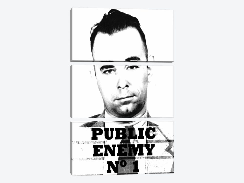 John Dillinger; Public Enemy Number 1 - Gangster Mugshot by iCanvas 3-piece Canvas Wall Art