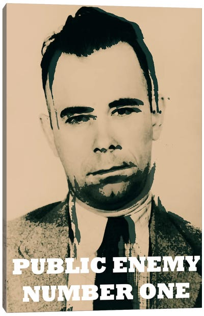John Dillinger (1903-1934); Public Enemy Number 1 - Gangster Mugshot Canvas Art Print