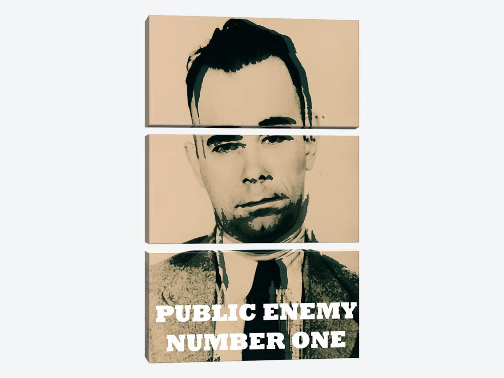 John Dillinger (1903-1934); Public Enemy Number 1 - Gangster Mugshot by iCanvas 3-piece Canvas Wall Art