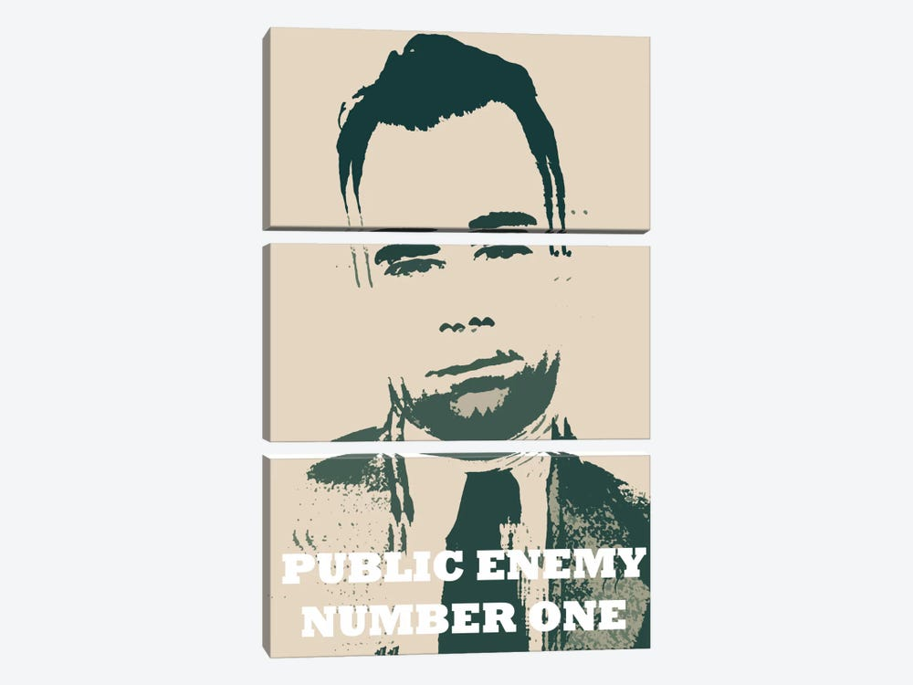 John Dillinger (1903-1934) - Blurry Look; Public Enemy Number 1 - Gangster Mugshot by iCanvas 3-piece Canvas Art Print
