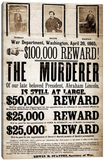 Dead or Alive - Murderer Wanted Canvas Art Print