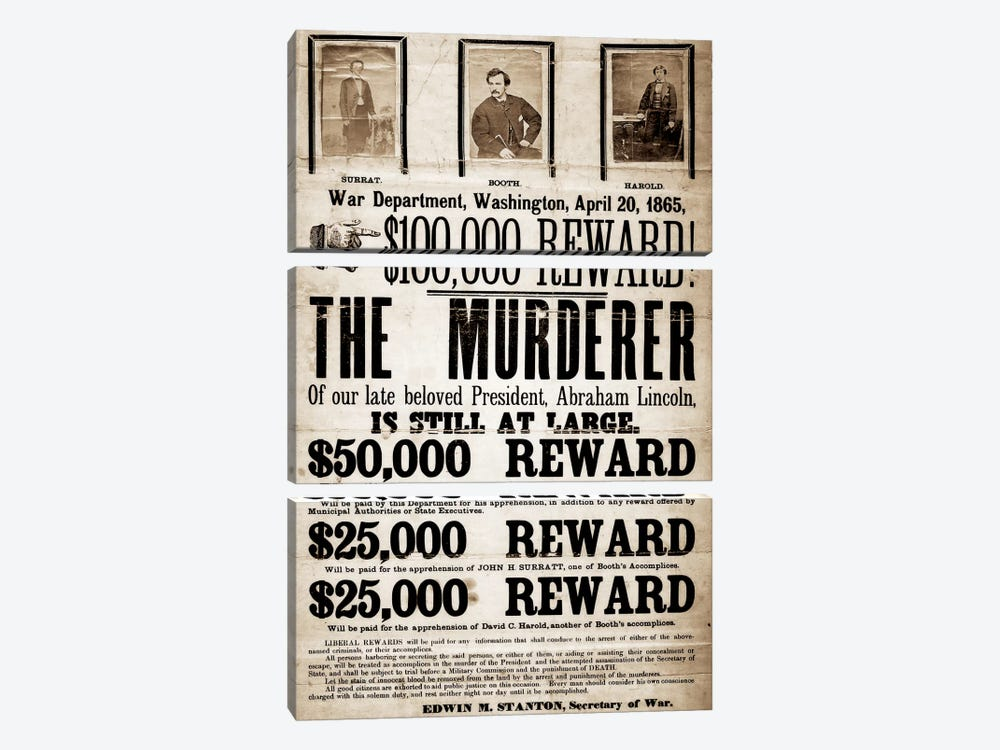 Dead or Alive - Murderer Wanted by Unknown Artist 3-piece Canvas Print
