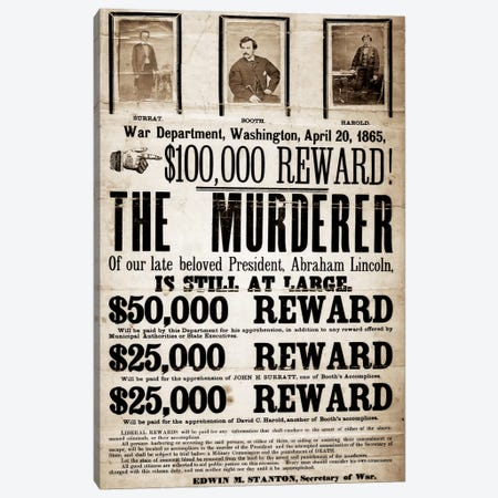 Dead or Alive - Murderer Wanted Canvas Print #8849} by Unknown Artist Canvas Art