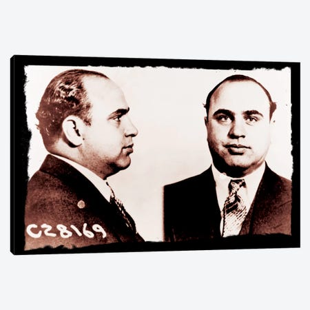 Alphonse Gabriel Al Capone Mugshot 2 - Chicago Gangster Outlaw Canvas Print #8853} by Unknown Artist Art Print