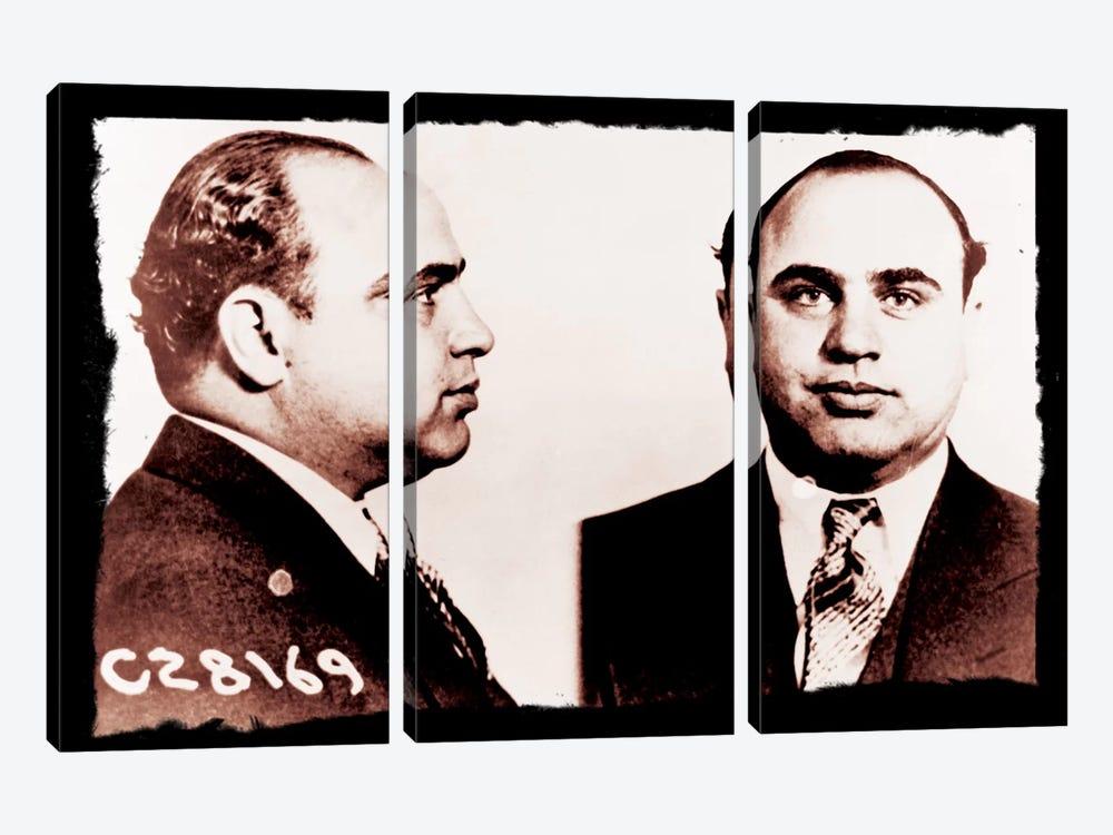 Alphonse Gabriel Al Capone Mugshot 2 - Chicago Gangster Outlaw by Unknown Artist 3-piece Canvas Art