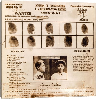 Lester M. Gillis alias 'Baby Face Nelson' Wanted Poster - Fingerprints & Criminal History Record Canvas Print #8854