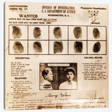 Lester M. Gillis alias 'Baby Face Nelson' Wanted Poster - Fingerprints & Criminal History Record Canvas Print #8854} by Unknown Artist Canvas Wall Art
