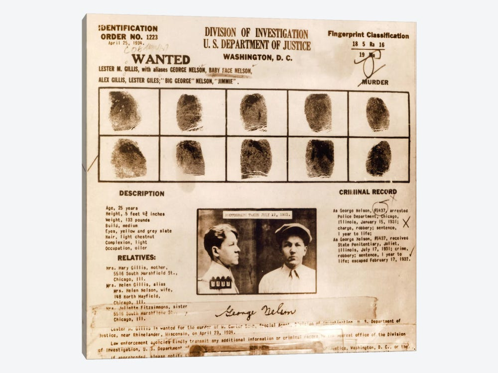 Lester M. Gillis alias 'Baby Face Nelson' Wanted Poster - Fingerprints & Criminal History Record by Unknown Artist 1-piece Canvas Print