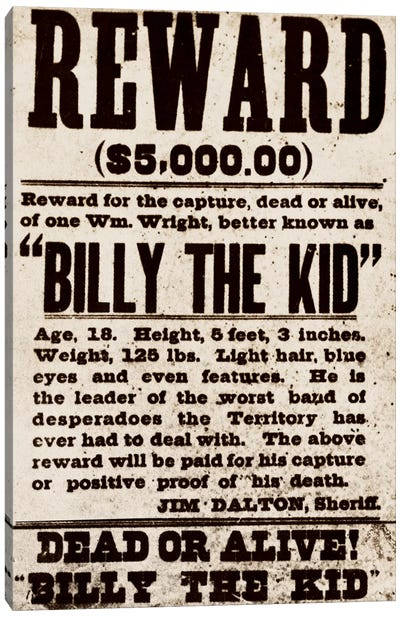 Dead or Alive - Billy The Kid Canvas Print #8855