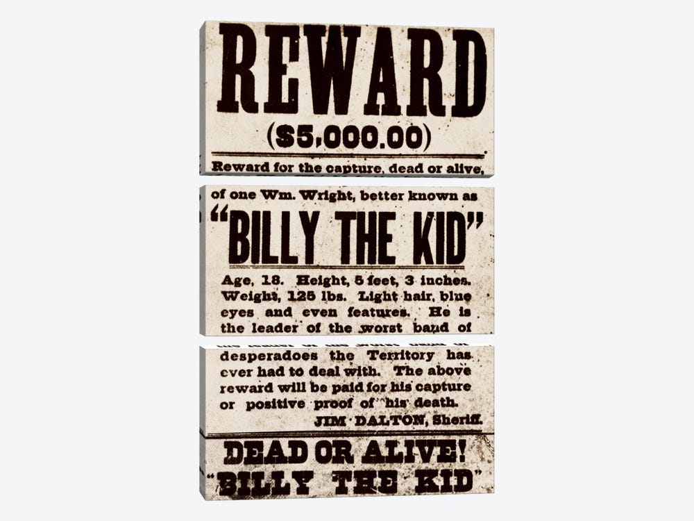 Dead or Alive - Billy The Kid by iCanvas 3-piece Canvas Artwork