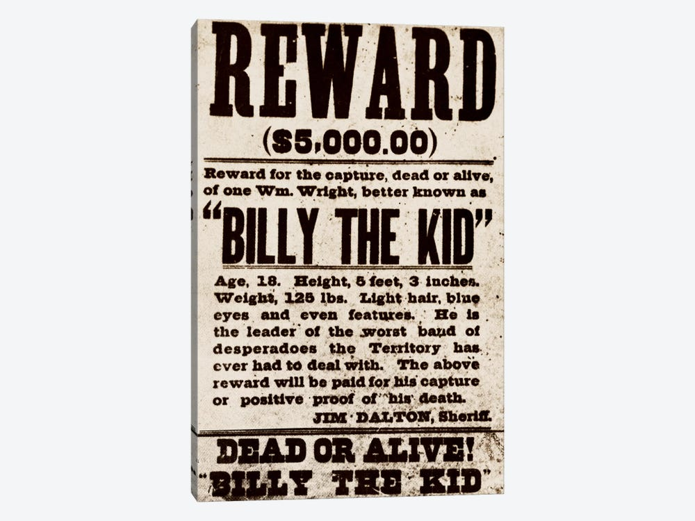 Dead or Alive - Billy The Kid by Unknown Artist 1-piece Canvas Wall Art