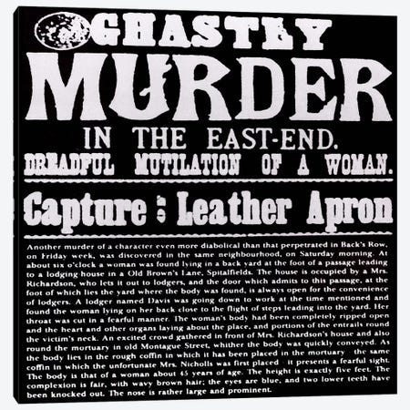Ghastly Murder in The East-End Canvas Print #8856} by Unknown Artist Canvas Wall Art