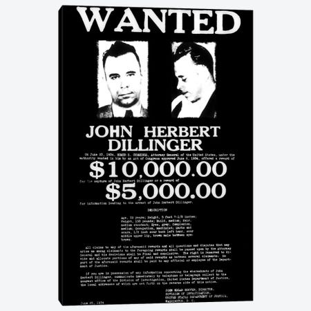 Wanted - John Herbert Dillinger Canvas Print #8857} by Unknown Artist Canvas Wall Art