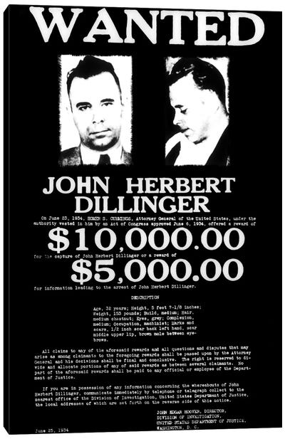 Wanted - John Herbert Dillinger Canvas Art Print