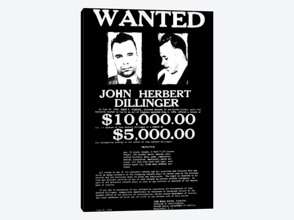 Wanted - John Herbert Dillinger by Unknown Artist 1-piece Canvas Art