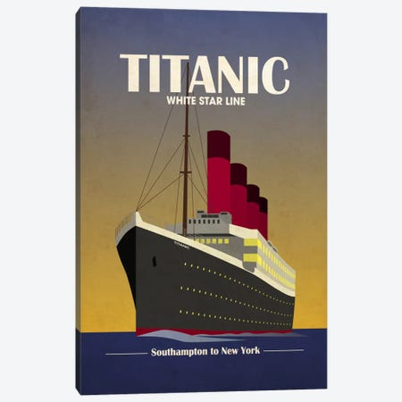 Titanic Ocean Liner Art Deco Canvas Print #8858} by Michael Tompsett Canvas Art Print