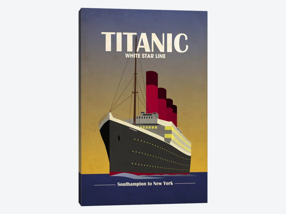 Titanic Ocean Liner Art Deco by Michael Tompsett 1-piece Canvas Art Print