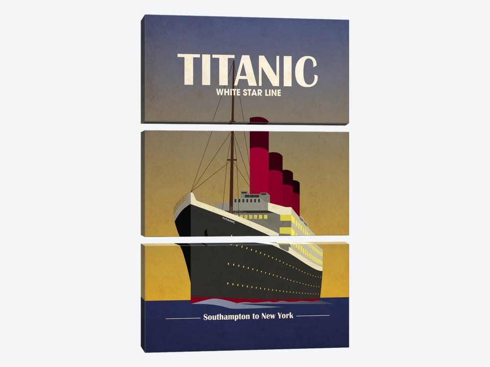 Titanic Ocean Liner Art Deco by Michael Tompsett 3-piece Canvas Print