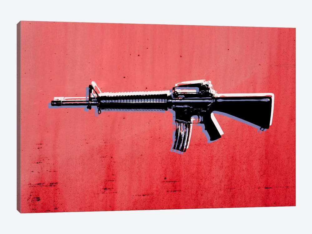 M16 Assault Rifle on Red by Michael Tompsett 1-piece Canvas Artwork