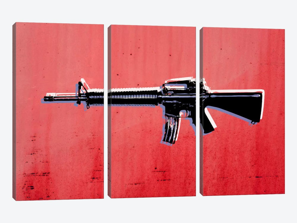 M16 Assault Rifle on Red by Michael Tompsett 3-piece Canvas Art