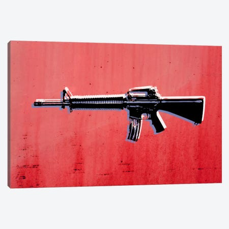 M16 Assault Rifle on Red Canvas Print #8859} by Michael Tompsett Canvas Print