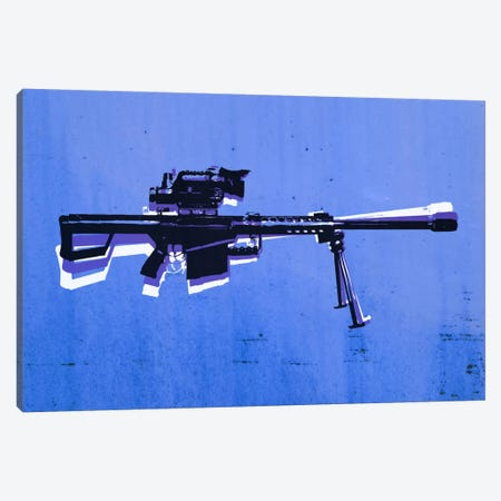 M82 Sniper Rifle on Blue Canvas Print #8860} by Michael Tompsett Canvas Artwork