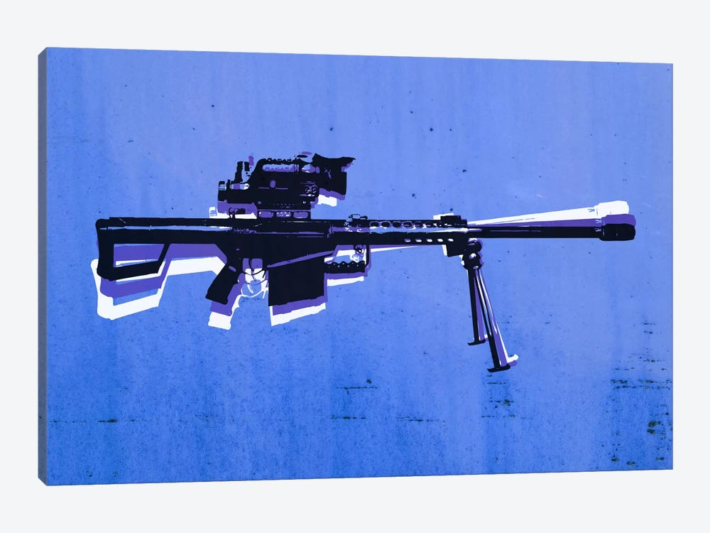 M82 Sniper Rifle on Blue by Michael Tompsett 1-piece Canvas Art