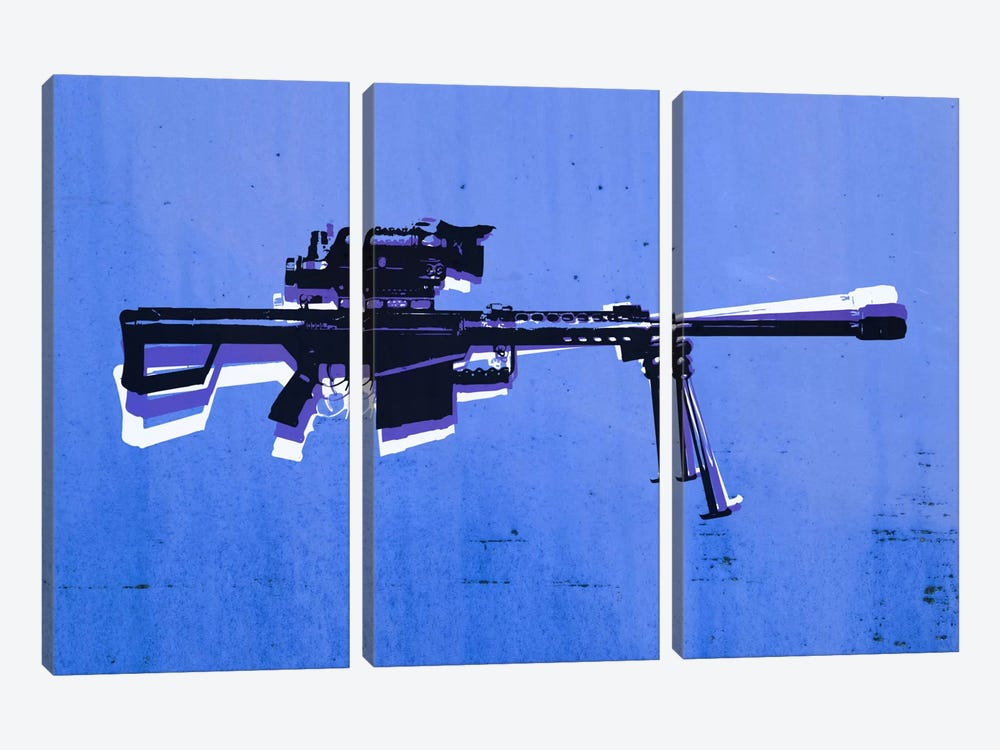 M82 Sniper Rifle on Blue by Michael Tompsett 3-piece Canvas Artwork