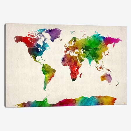 Watercolor Map of the World III Canvas Print #8861} by Michael Tompsett Canvas Art