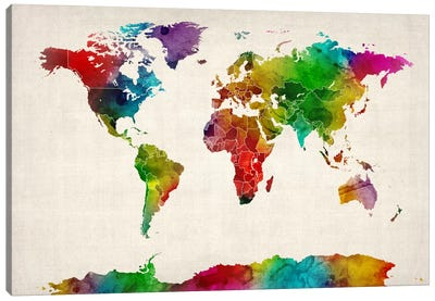 Watercolor Map of the World III Canvas Art Print
