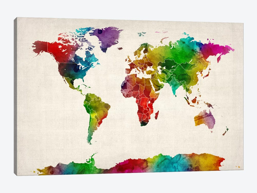 Watercolor Map of the World III by Michael Tompsett 1-piece Canvas Art Print