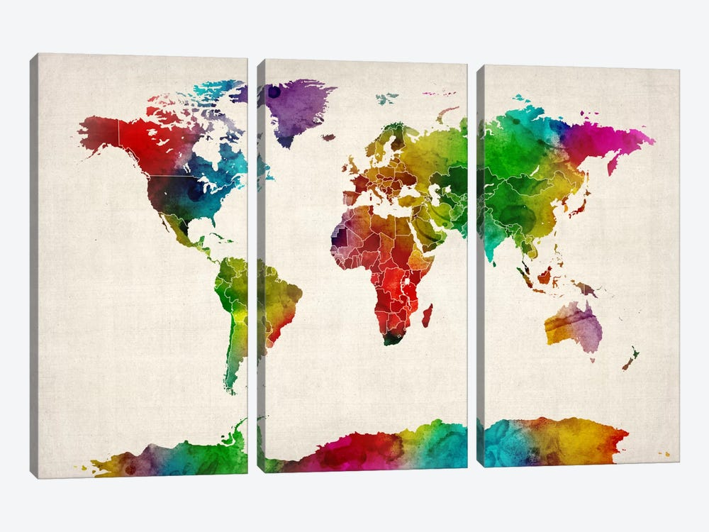 Watercolor Map of the World III by Michael Tompsett 3-piece Canvas Art Print