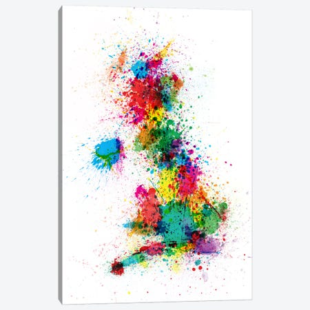 Great Britain Uk Map Paint Splashes Canvas Print #8862} by Michael Tompsett Canvas Art