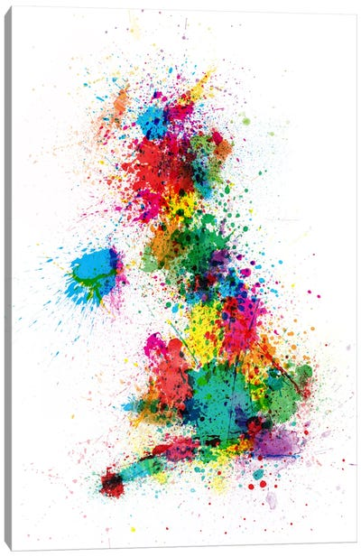 Great Britain Uk Map Paint Splashes Canvas Print #8862