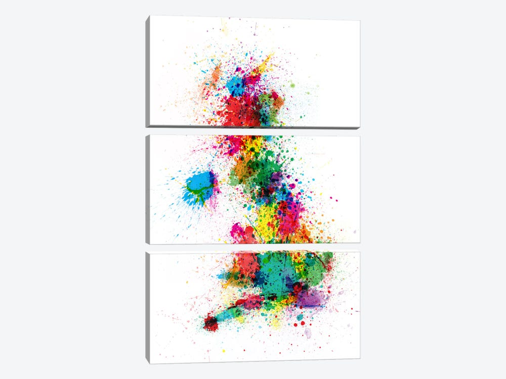 Great Britain Uk Map Paint Splashes by Michael Tompsett 3-piece Canvas Wall Art