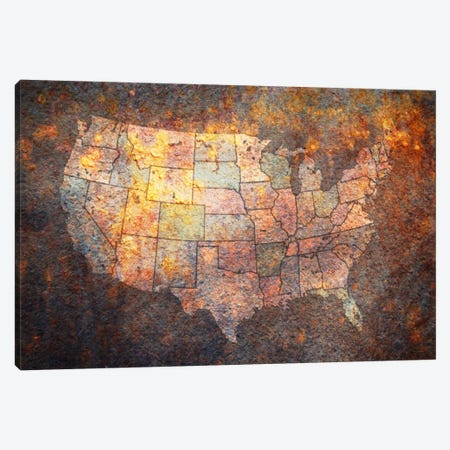 USA Map Canvas Print #8863} by Michael Tompsett Canvas Wall Art