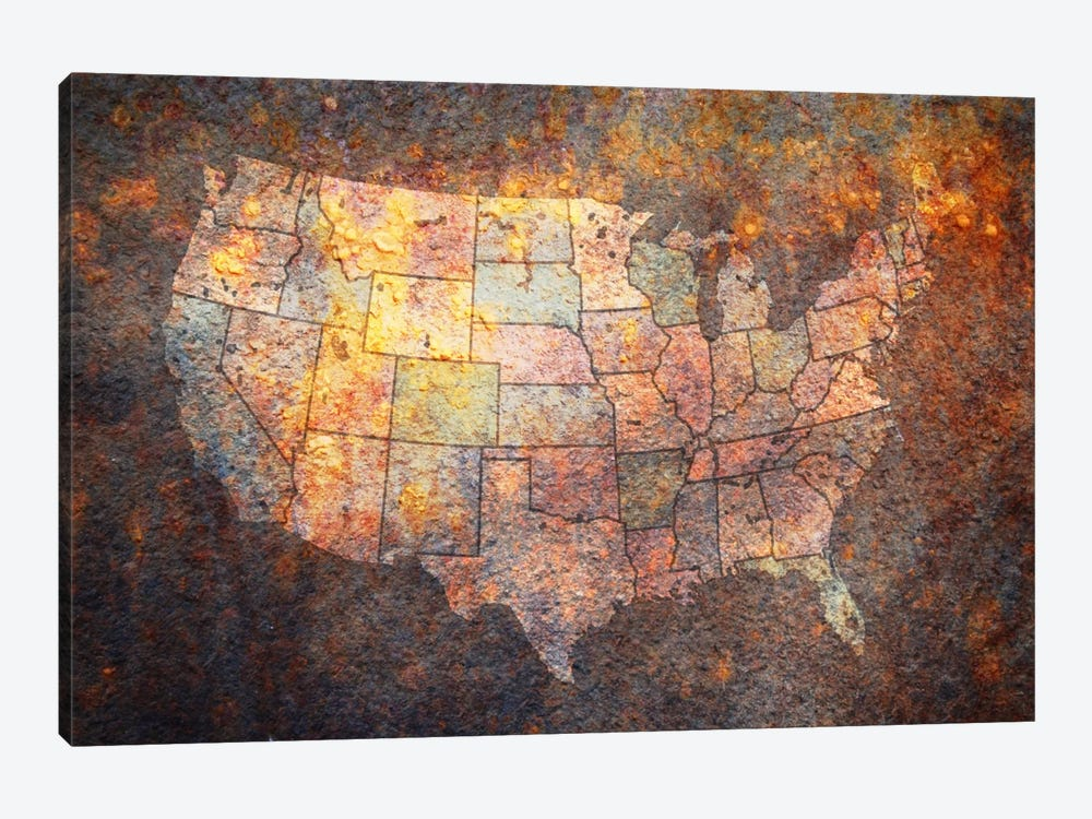 USA Map by Michael Tompsett 1-piece Canvas Print