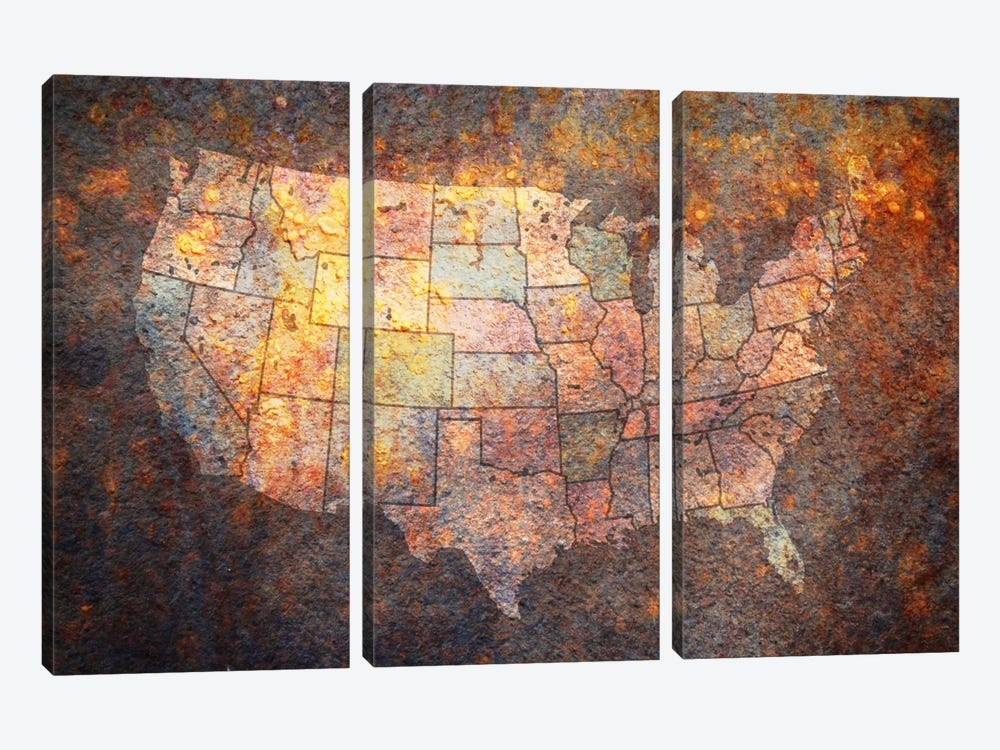USA Map by Michael Tompsett 3-piece Canvas Art Print