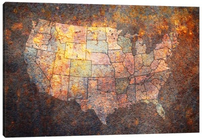 USA Map Canvas Art Print